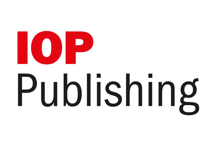 red logo text over black log text with one word per line on a white background reading IOP Publishing